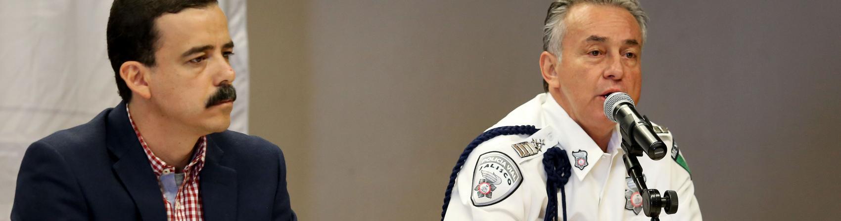 Comisario General de la Policía Vial, Marco Antonio Castañeda Águila haciendo uso de la palabra
